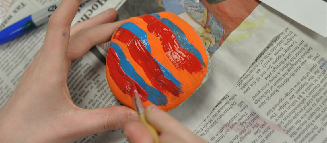 Rock painting at Middle School